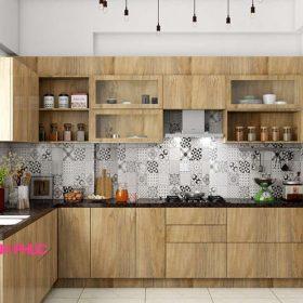 Kệ tủ bếp chữ L melamine vân gỗ M21-007 tối ưu không gian