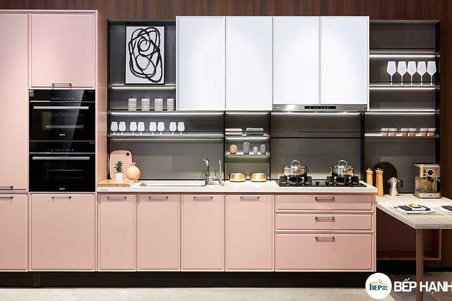 Tủ bếp chữ I chất liệu PVC tối giản KTB-I-20-01