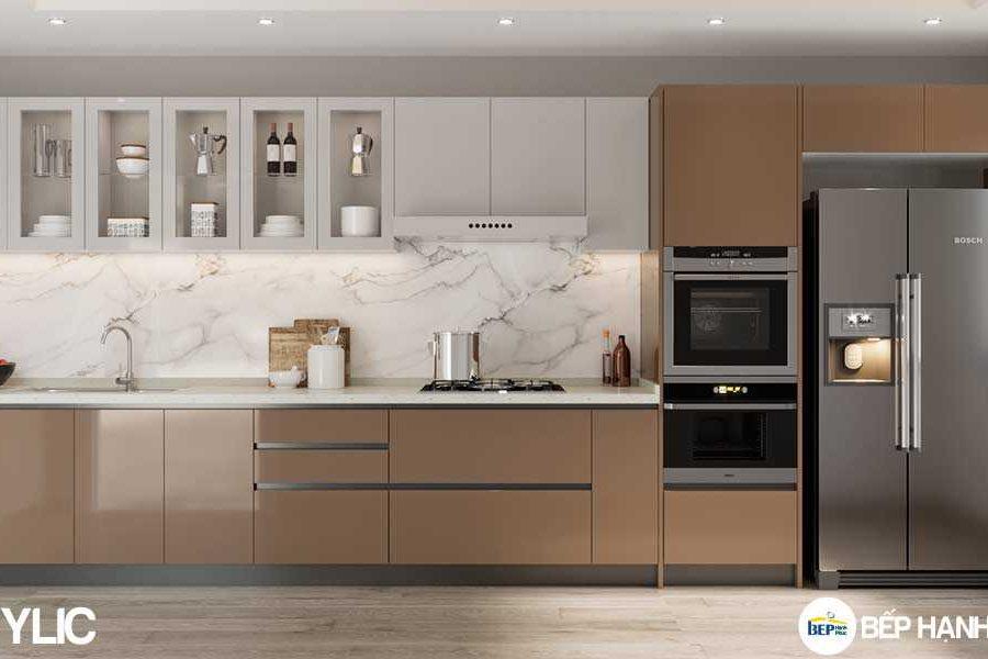 Tủ bếp chữ I chất liệu PVC tối giản KTB-I-20-02