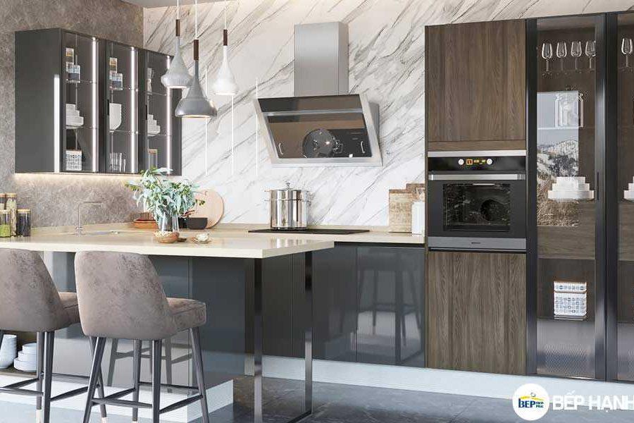 Tủ bếp chữ I chất liệu Melamine tối giản KTB-I-20-04