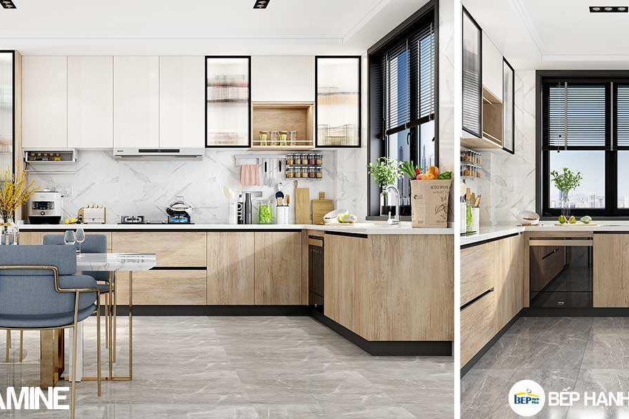 Tủ bếp chữ L chất liệu melamine vân gỗ KTB-L-20-01