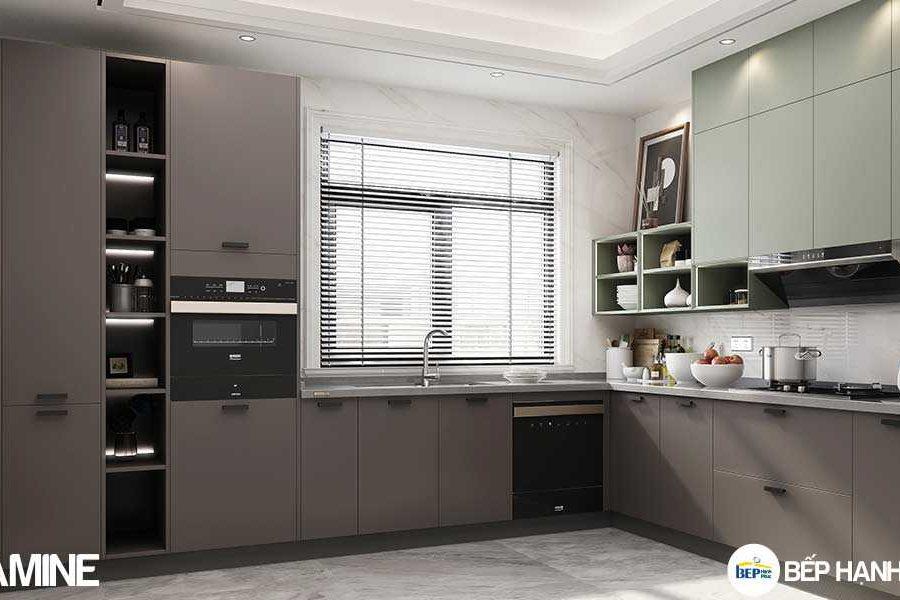Tủ bếp chữ L chất liệu melamine hiện đại KTB-L-20-02