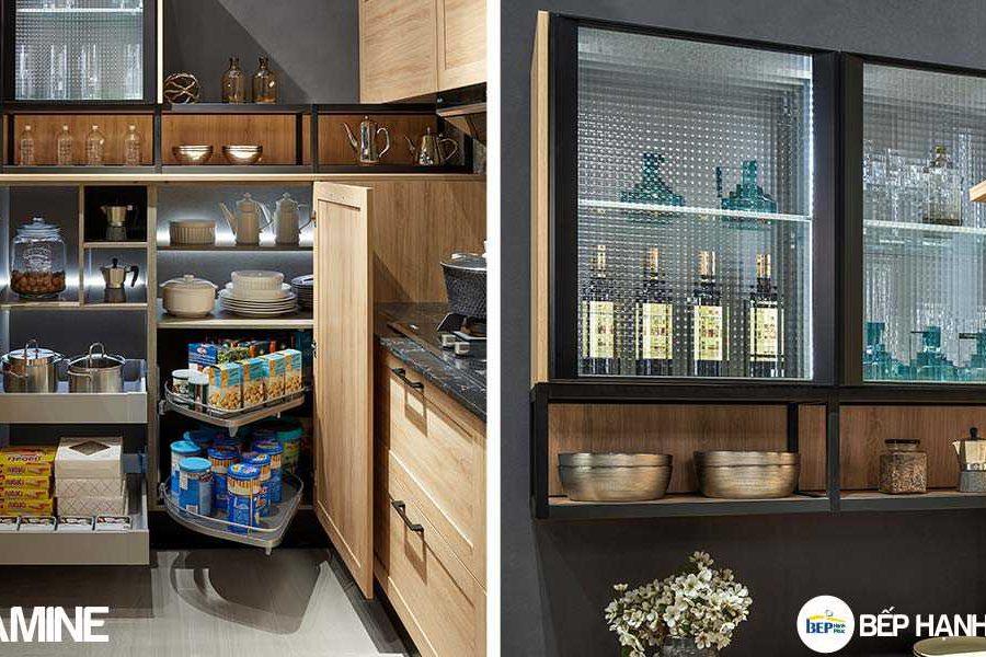Tủ bếp chữ L chất liệu melamine vân gỗ KTB-L-20-03