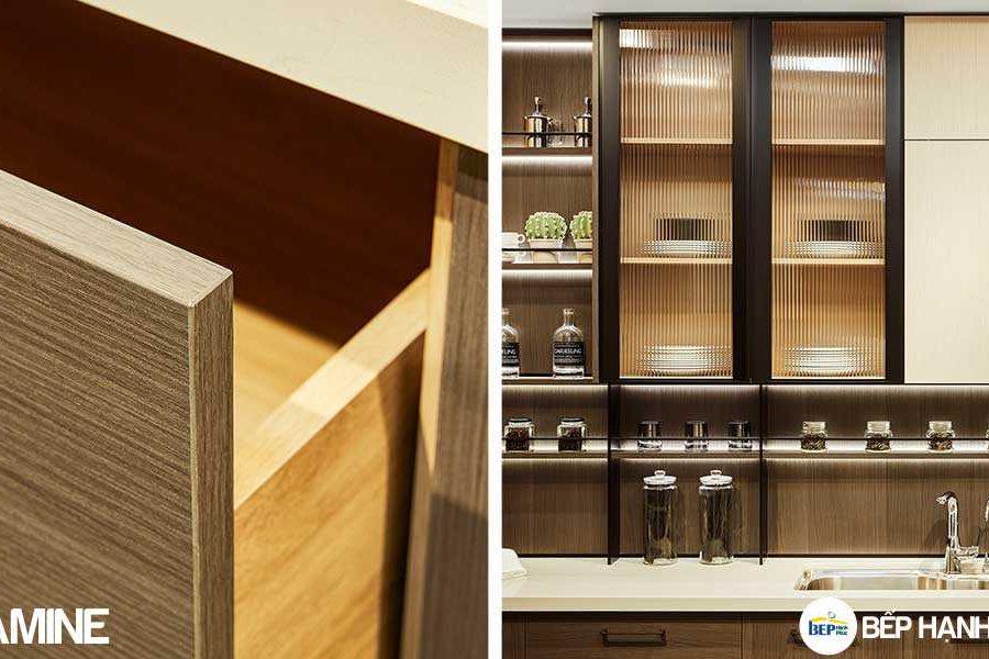 Tủ bếp chữ L chất liệu melamine vân gỗ KTB-L-20-04