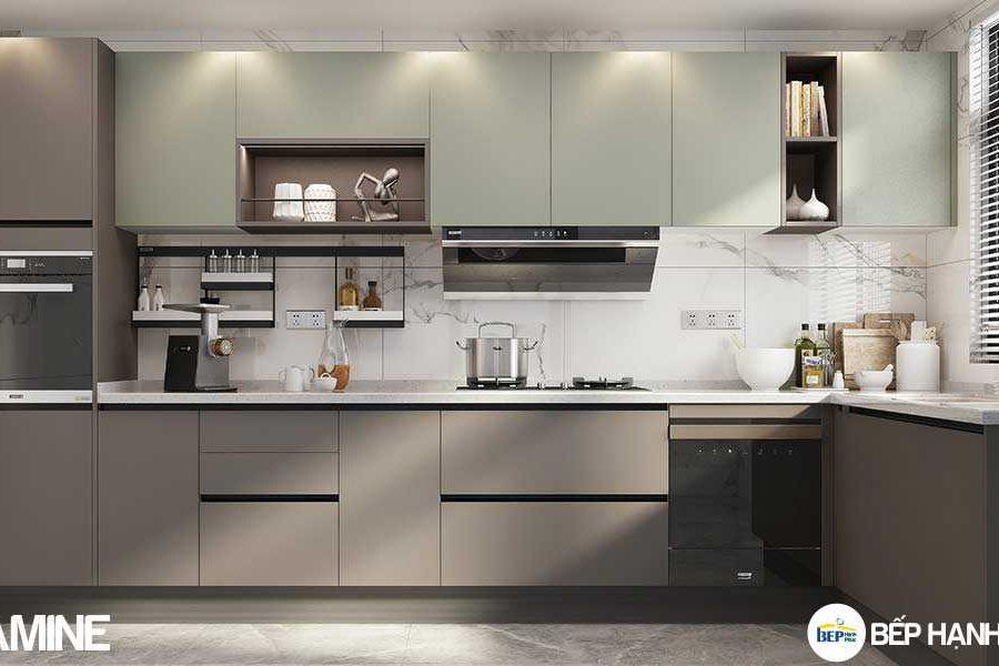 Tủ bếp chữ L chất liệu melamine không tay cầm KTB-L-20-05