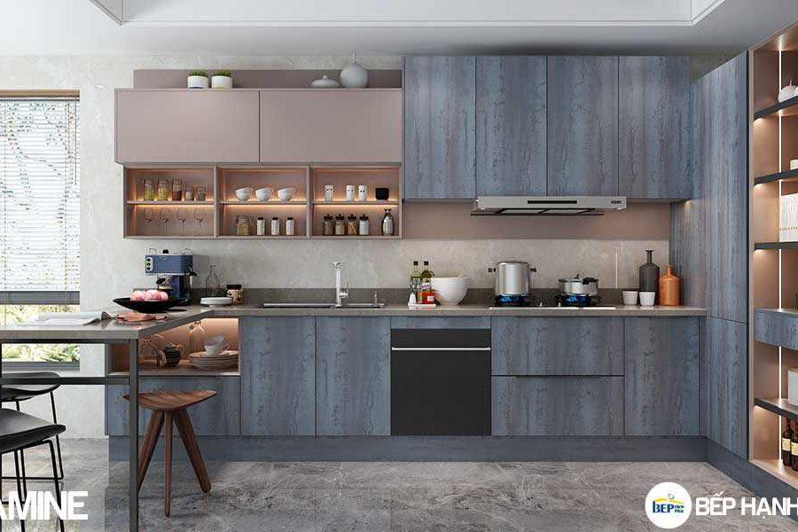 Tủ bếp chữ L chất liệu melamine vân gỗ KTB-L-20-08