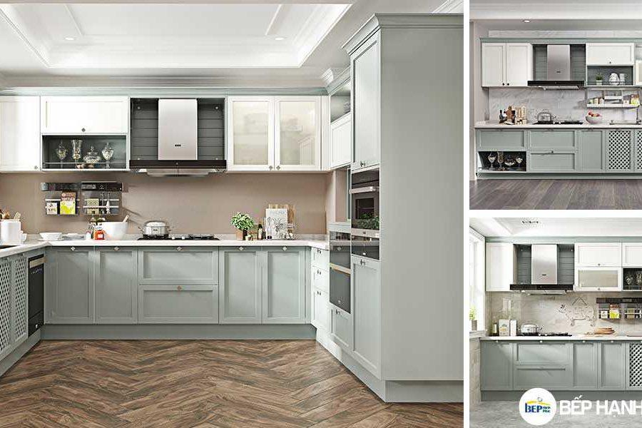 Tủ bếp chữ L chất liệu MDF Sơn KTB-L-20-09
