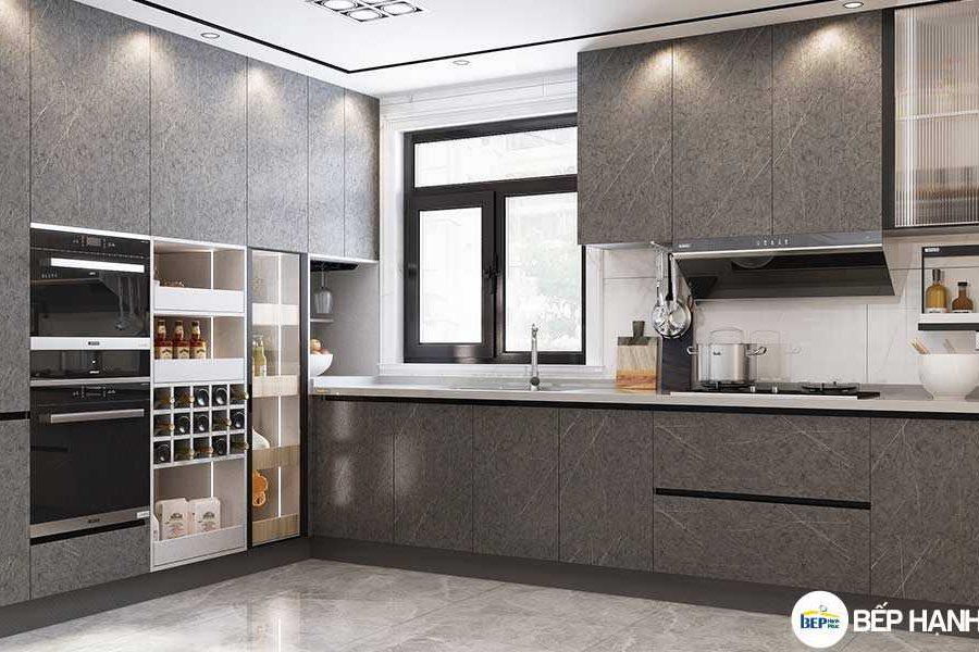 Tủ bếp chữ L chất liệu Melamine hiện đại KTB-L-20-10