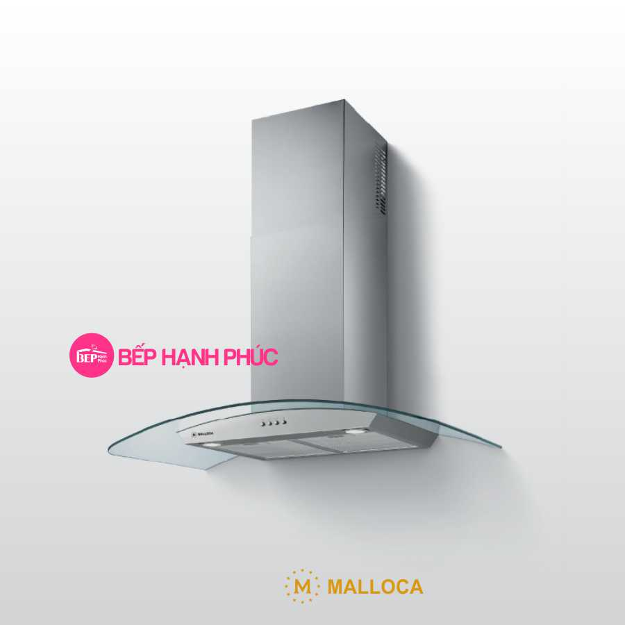 Máy hút mùi Malloca DELTA-K890V - Áp tường 90cm inox kính cong