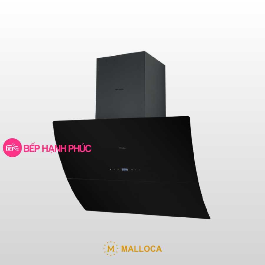 Máy hút mùi Malloca MC 9039B - Áp tường 90cm mặt kính vát cong kính đen