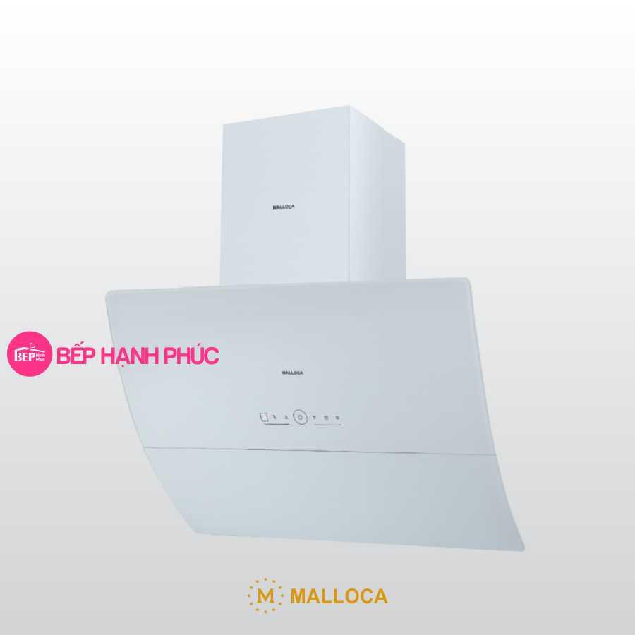 Máy hút mùi Malloca MC 9039W - Áp tường 90cm mặt kính vát cong kính trắng