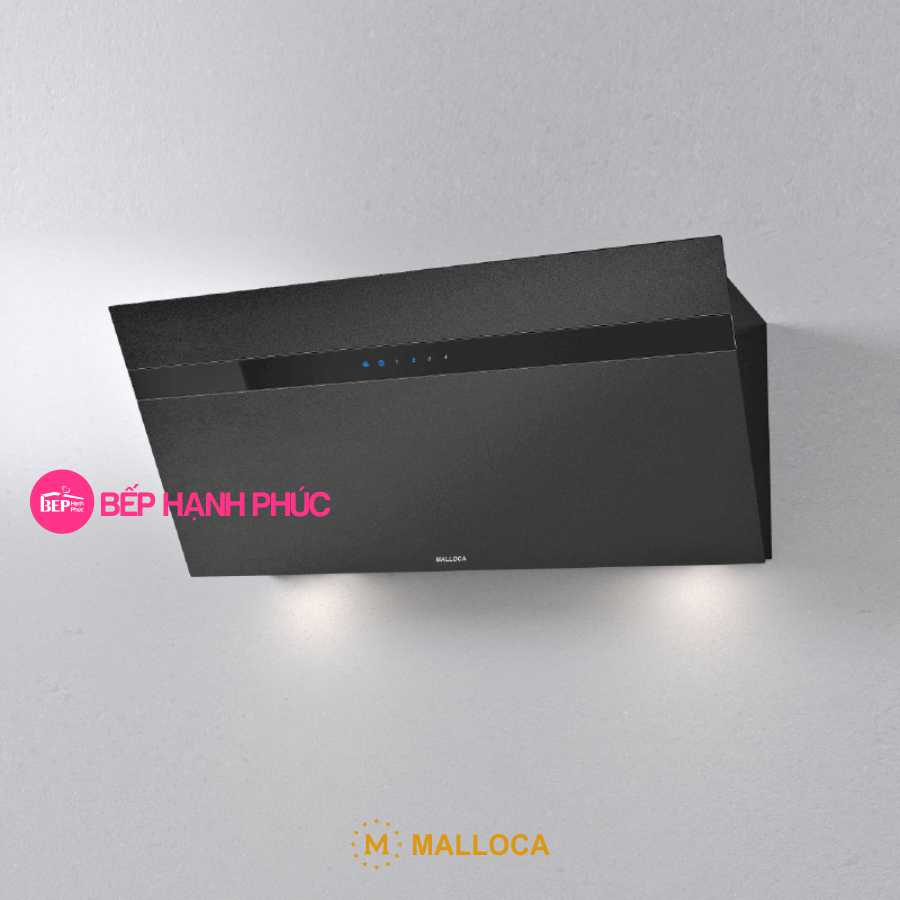Máy hút mùi Malloca VITA V-15 GRES - Áp tường 90cm mặt vát Ceramic đen