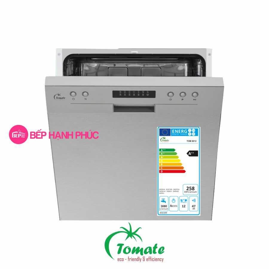 Máy rửa chén Tomate TOM 6012 - Âm tủ bán phần 14 bộ 6 chương trình