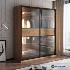 Tủ quần áo cửa kéo kính Melamine vân gỗ TQA-KD-21