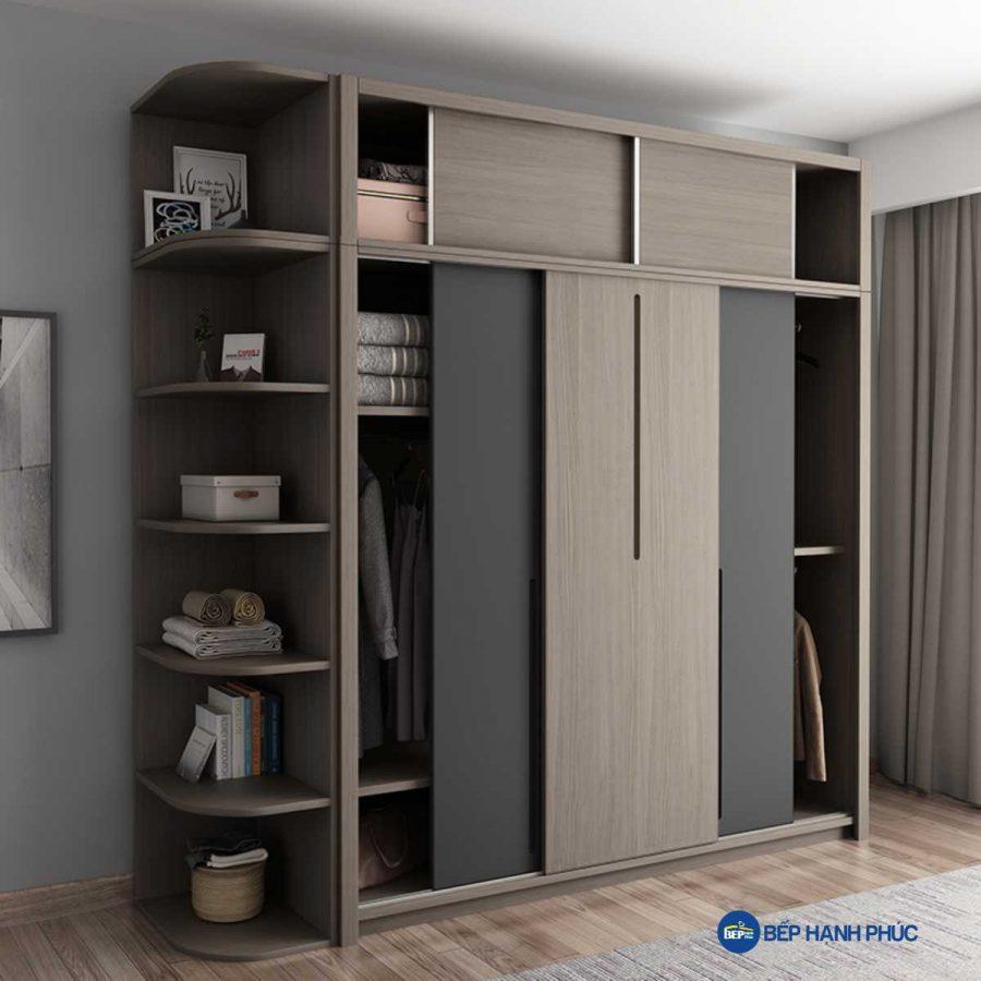Tủ quần áo cửa kéo Melamine vân gỗ TQA-KD-23